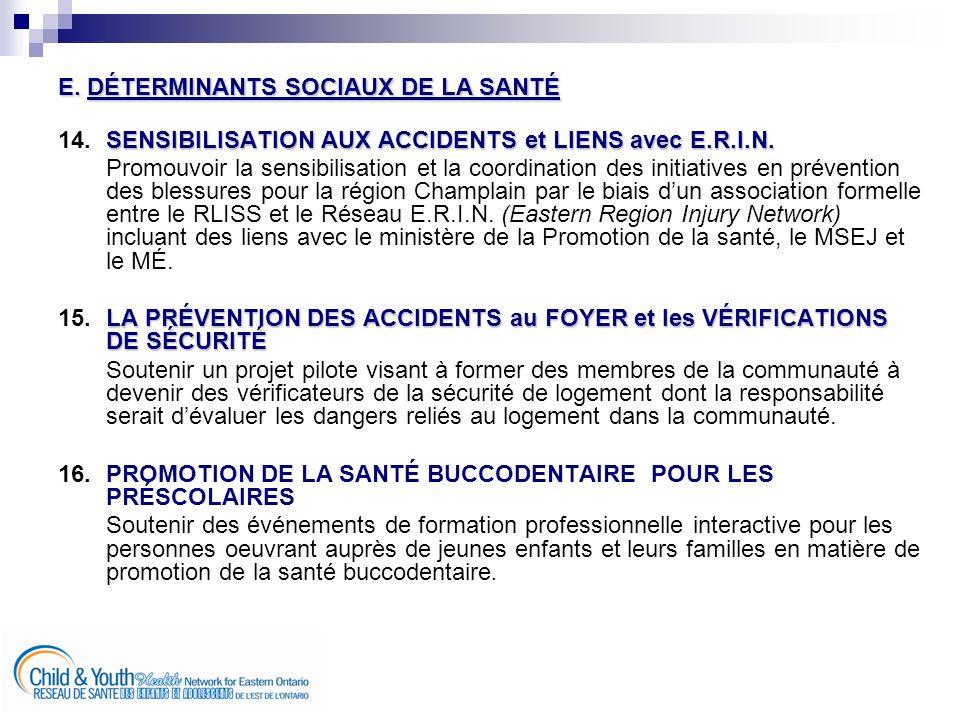 E. DÉTERMINANTS SOCIAUX DE LA SANTÉ SENSIBILISATION AUX ACCIDENTS et LIENS avec E.R.I.N.
