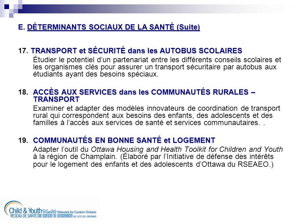 E. DÉTERMINANTS SOCIAUX DE LA SANTÉ (Suite) TRANSPORT et SÉCURITÉ dans les AUTOBUS SCOLAIRES 17.