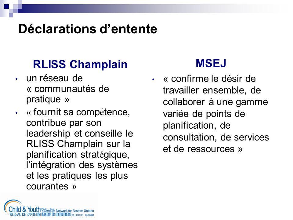 se pencher sur les questions dintégration, damélioration des services et de développement sain valorisé pour les enfants et les adolescents solliciter des recommandations réalisables et stratégiques auprès dune gamme variée de fournisseurs de services, de familles, dadolescents et de décideurs collaborer avec le RLISS Champlain, les bureaux régionaux du MSEJ et du ministère de lÉducation, les membres du RSEAEO et les autres partenaires clés Les objectifs de cette initiative