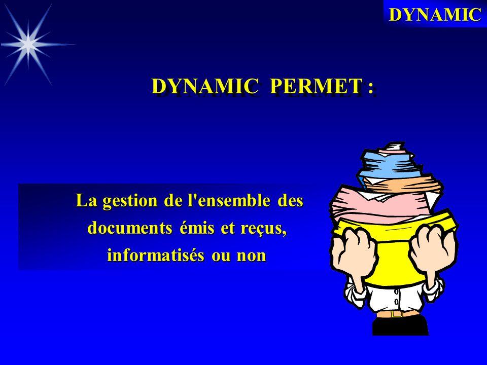 DYNAMIC PRESENTATION GENERALE PRESENTATION GENERALE Le Gestionnaire des Documents DYNAMIC met à votre disposition une gestion documentaire informatisée professionnelle