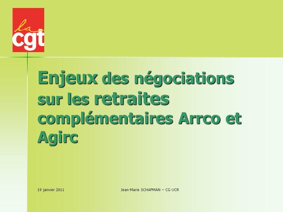 Enjeux des négociations sur les retraites complémentaires Arrco et Agirc 19 janvier 2011 Jean-Marie SCHAPMAN – CG UCR