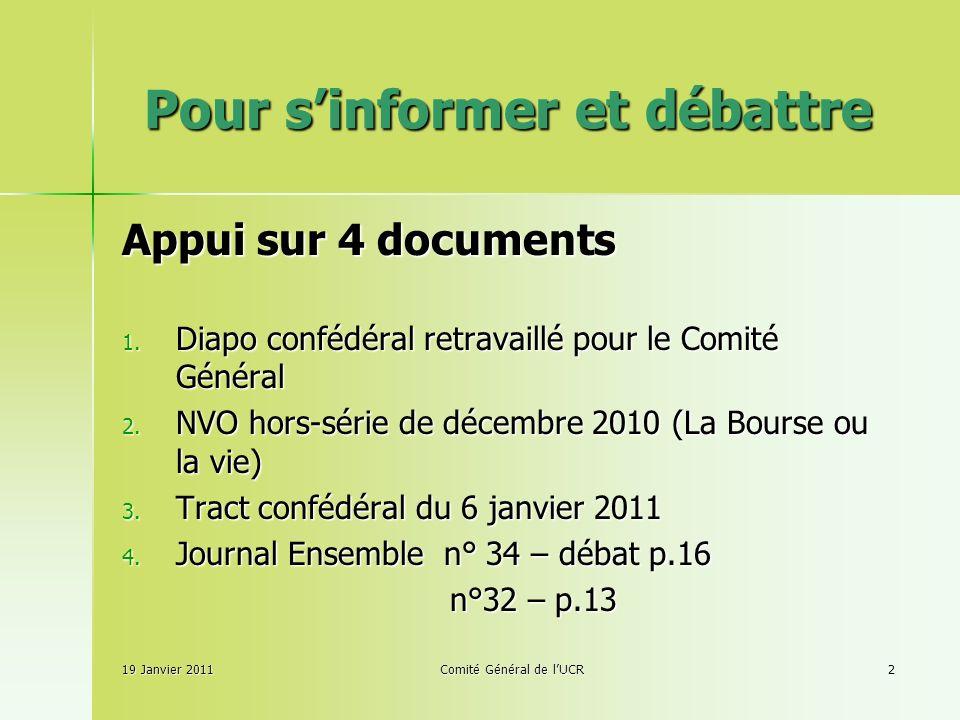 Pour sinformer et débattre Appui sur 4 documents 1.