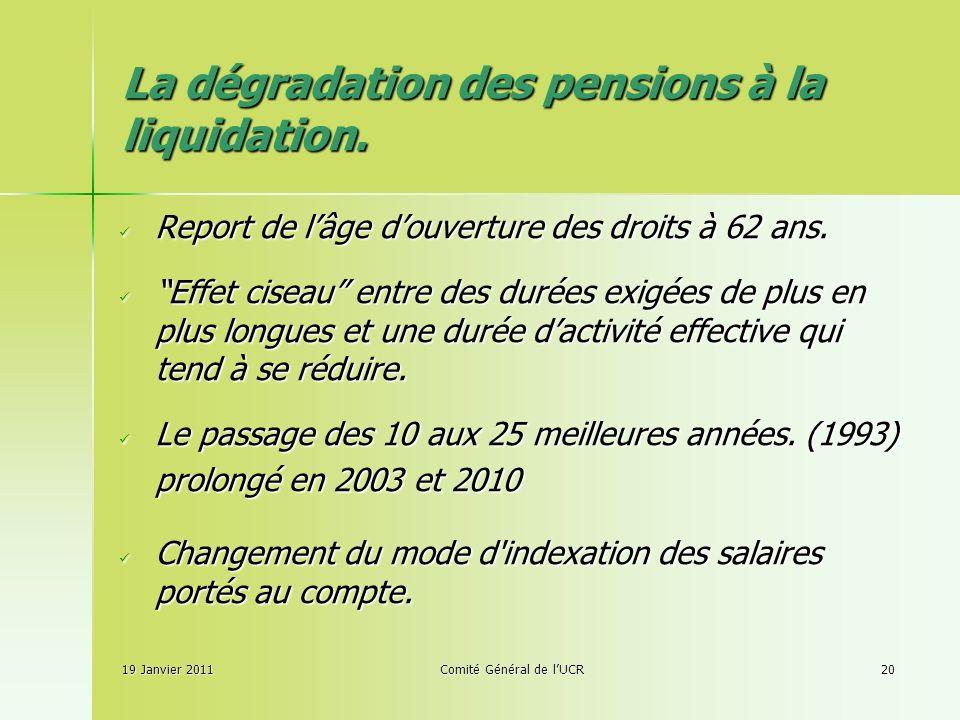 19 Janvier 2011Comité Général de lUCR20 La dégradation des pensions à la liquidation.