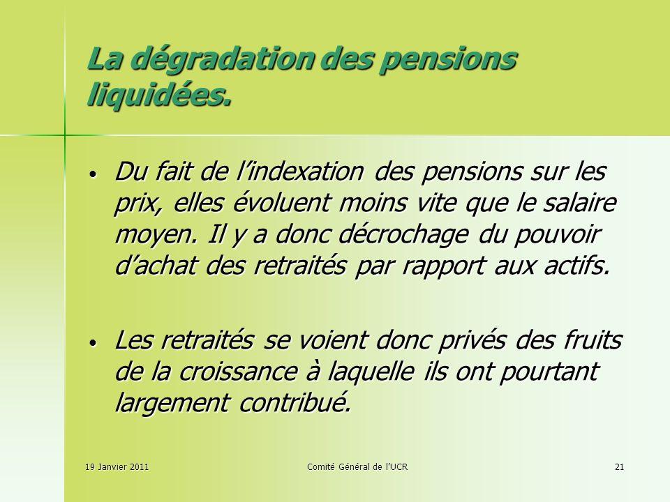 19 Janvier 2011Comité Général de lUCR21 La dégradation des pensions liquidées.
