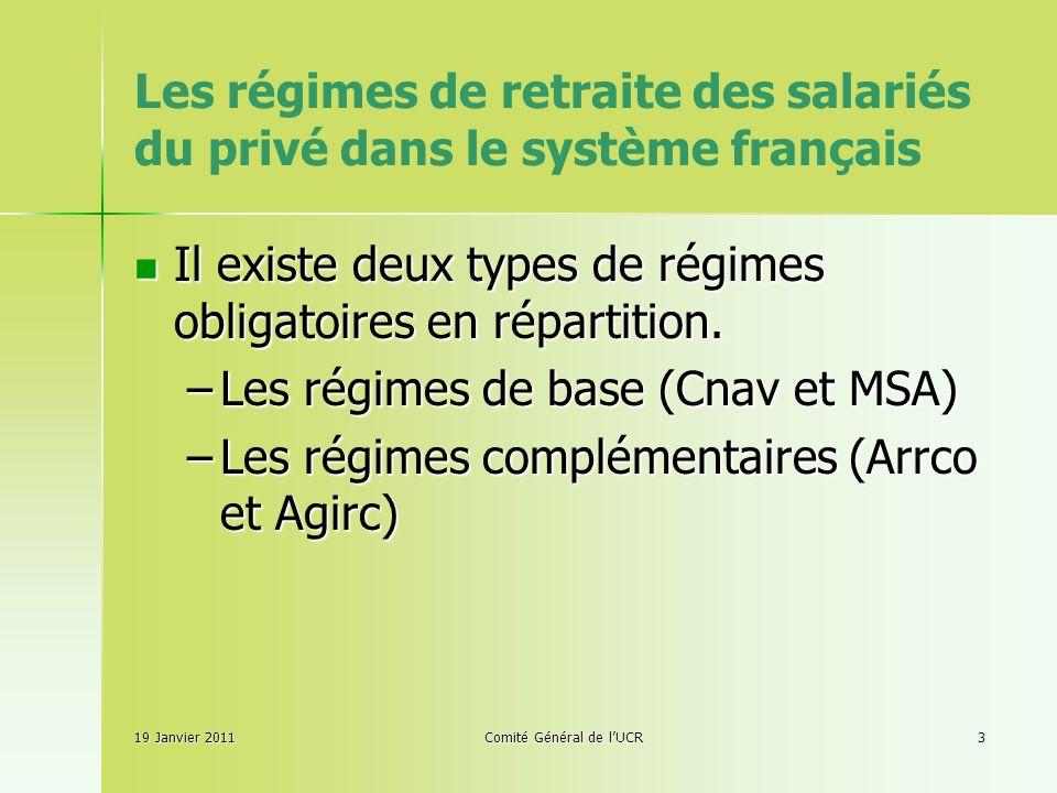 Les régimes de retraite des salariés du privé dans le système français Il existe deux types de régimes obligatoires en répartition.