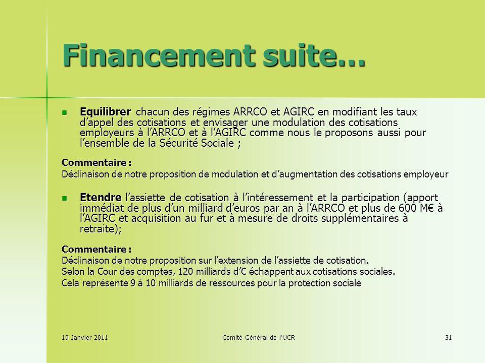 Financement suite… Equilibrer chacun des régimes ARRCO et AGIRC en modifiant les taux dappel des cotisations et envisager une modulation des cotisations employeurs à lARRCO et à lAGIRC comme nous le proposons aussi pour lensemble de la Sécurité Sociale ; Equilibrer chacun des régimes ARRCO et AGIRC en modifiant les taux dappel des cotisations et envisager une modulation des cotisations employeurs à lARRCO et à lAGIRC comme nous le proposons aussi pour lensemble de la Sécurité Sociale ; Commentaire : Déclinaison de notre proposition de modulation et daugmentation des cotisations employeur Etendre lassiette de cotisation à lintéressement et la participation (apport immédiat de plus dun milliard deuros par an à lARRCO et plus de 600 M à lAGIRC et acquisition au fur et à mesure de droits supplémentaires à retraite); Etendre lassiette de cotisation à lintéressement et la participation (apport immédiat de plus dun milliard deuros par an à lARRCO et plus de 600 M à lAGIRC et acquisition au fur et à mesure de droits supplémentaires à retraite); Commentaire : Déclinaison de notre proposition sur lextension de lassiette de cotisation.