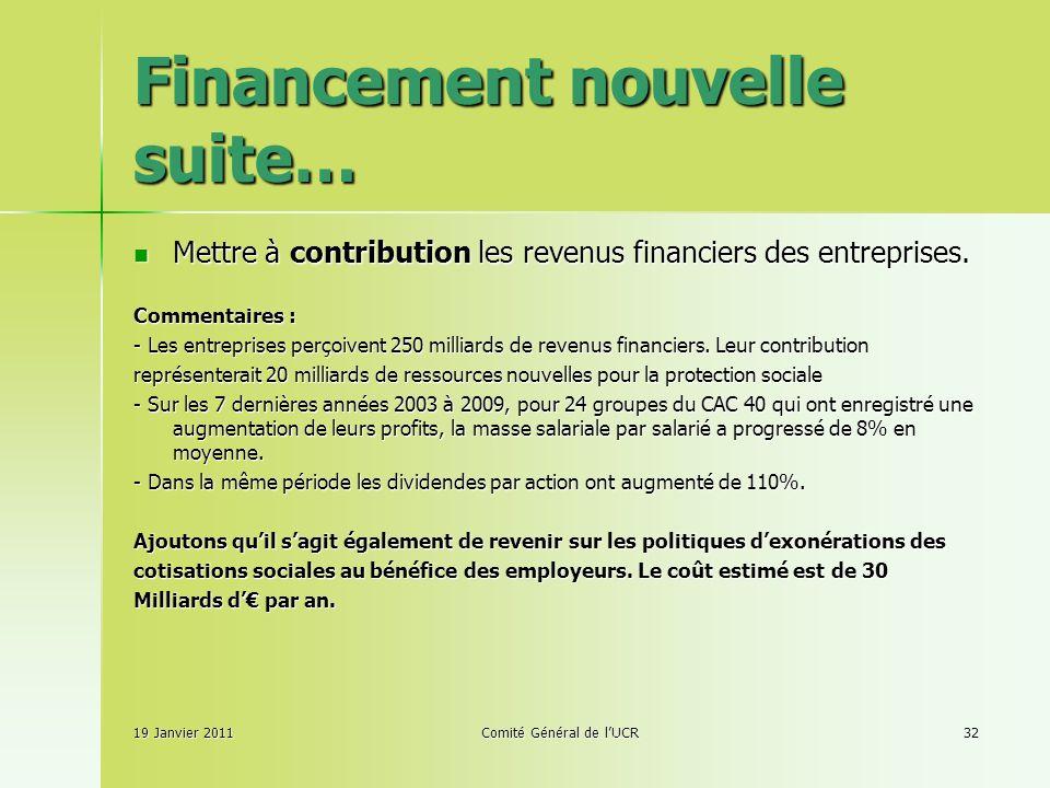 Financement nouvelle suite… Mettre à contribution les revenus financiers des entreprises.