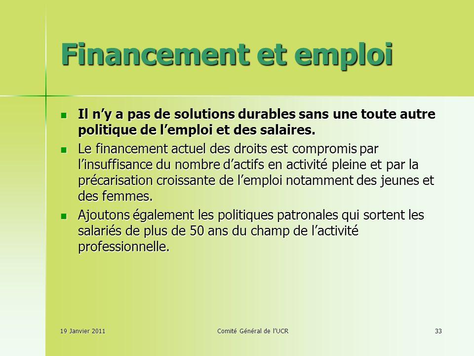 Financement et emploi Il ny a pas de solutions durables sans une toute autre politique de lemploi et des salaires.