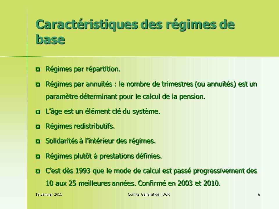 Caractéristiques des régimes de base 19 Janvier 2011Comité Général de lUCR6 Régimes par répartition.