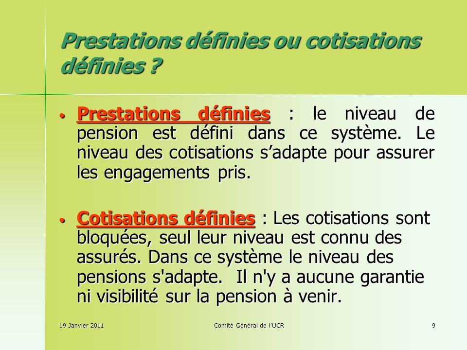 Prestations définies ou cotisations définies .