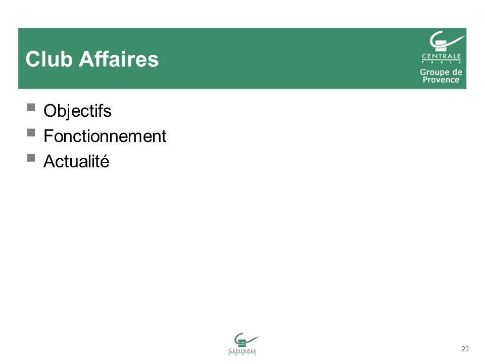 23 Club Affaires Objectifs Fonctionnement Actualité
