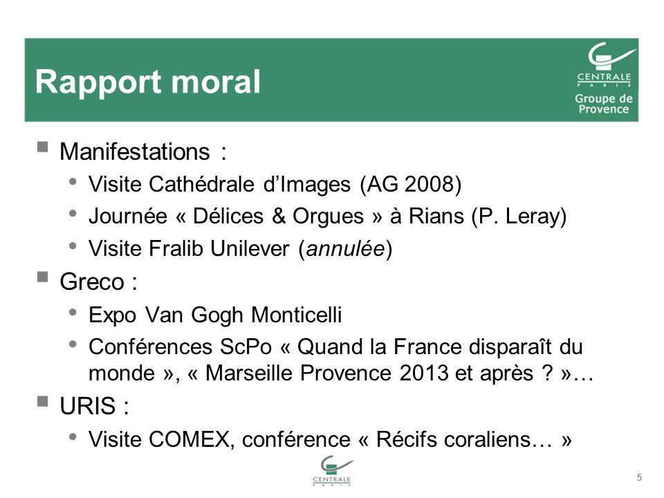 5 Rapport moral Manifestations : Visite Cathédrale dImages (AG 2008) Journée « Délices & Orgues » à Rians (P. Leray) Visite Fralib Unilever (annulée)