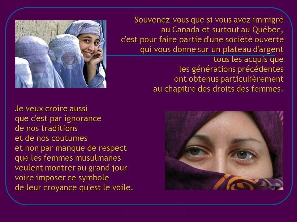silvializ@hotmail.com Que l on prie Jésus, Mahomet ou Bouddha m importe peu, mais nous nous sommes battus, québécois et québécoises, pour que notre société soit laïque.