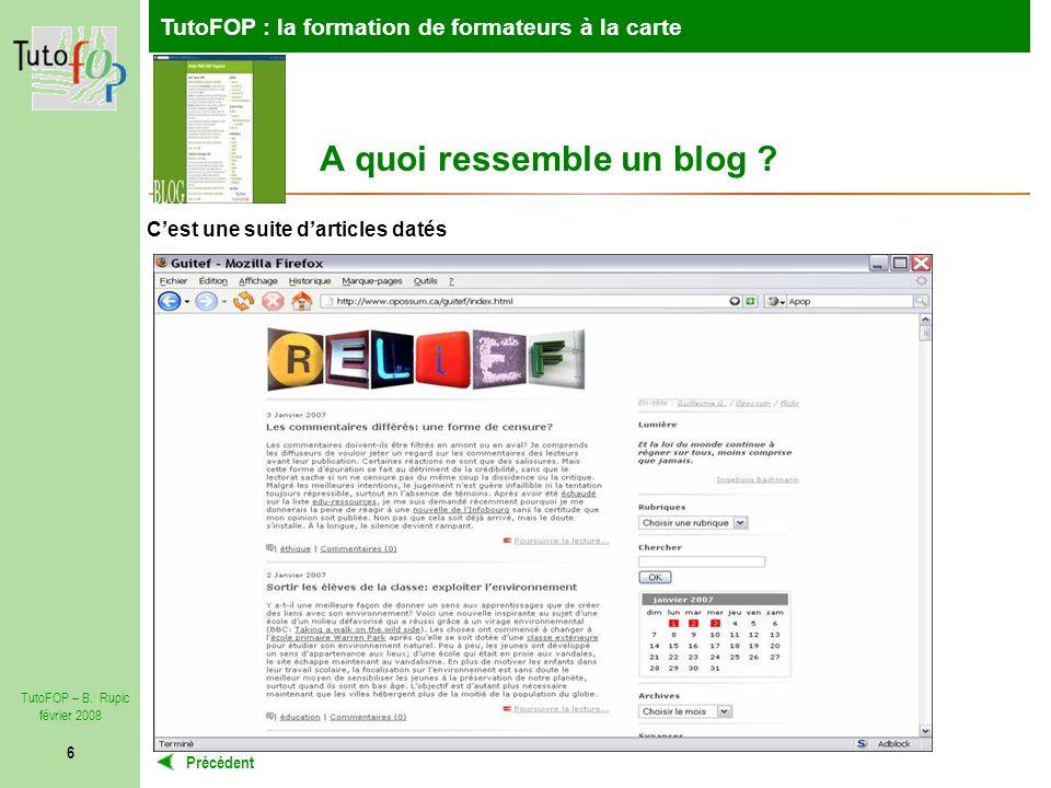 TutoFOP : la formation de formateurs à la carte Précédent TutoFOP – B.
