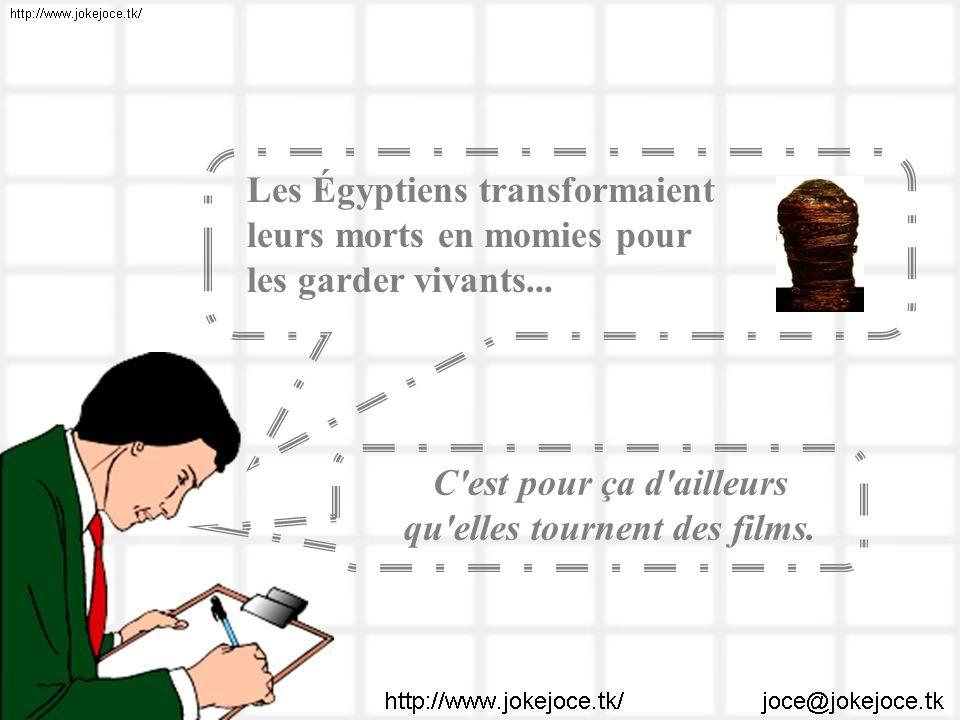 Les Égyptiens transformaient leurs morts en momies pour les garder vivants... C'est pour ça d'ailleurs qu'elles tournent des films.
