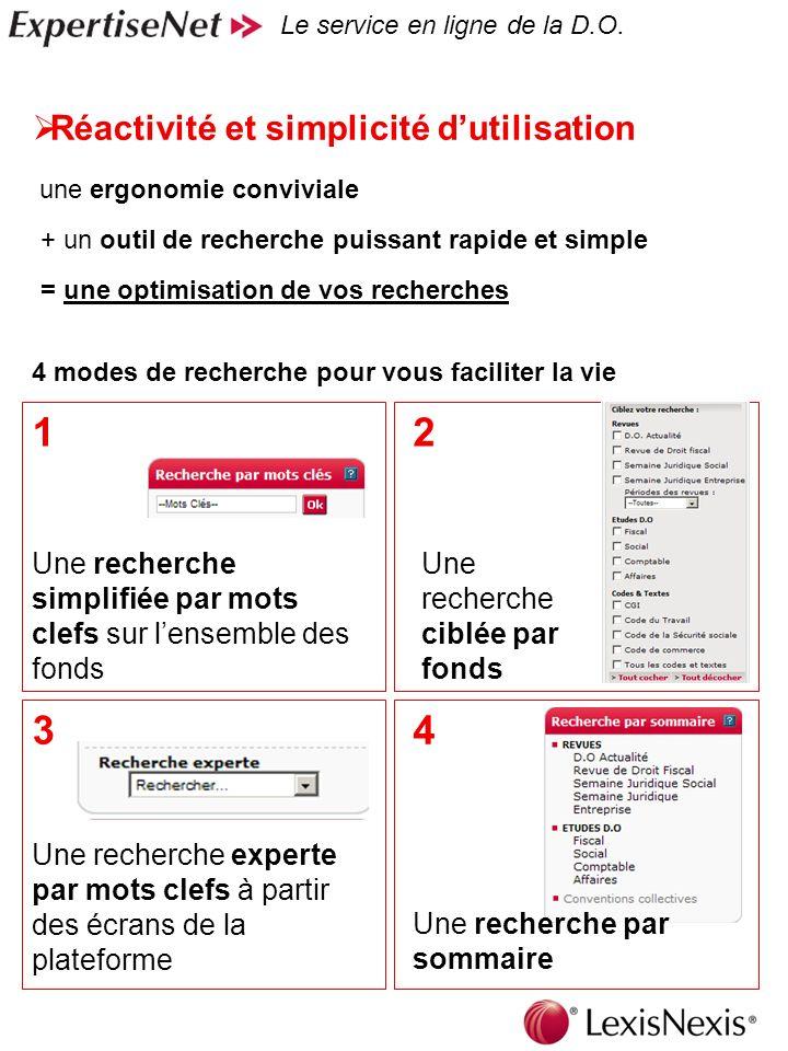 7 = une optimisation de vos recherches Réactivité et simplicité dutilisation Le service en ligne de la D.O.