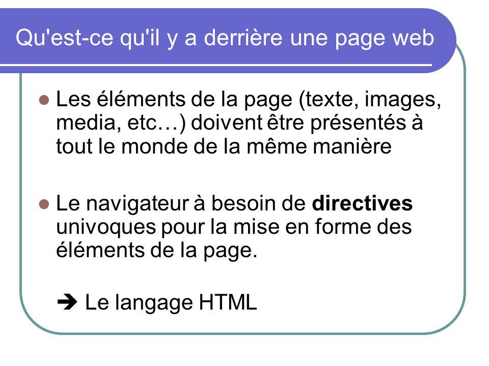 Qu'est-ce qu'il y a derrière une page web Les éléments de la page (texte, images, media, etc…) doivent être présentés à tout le monde de la même maniè