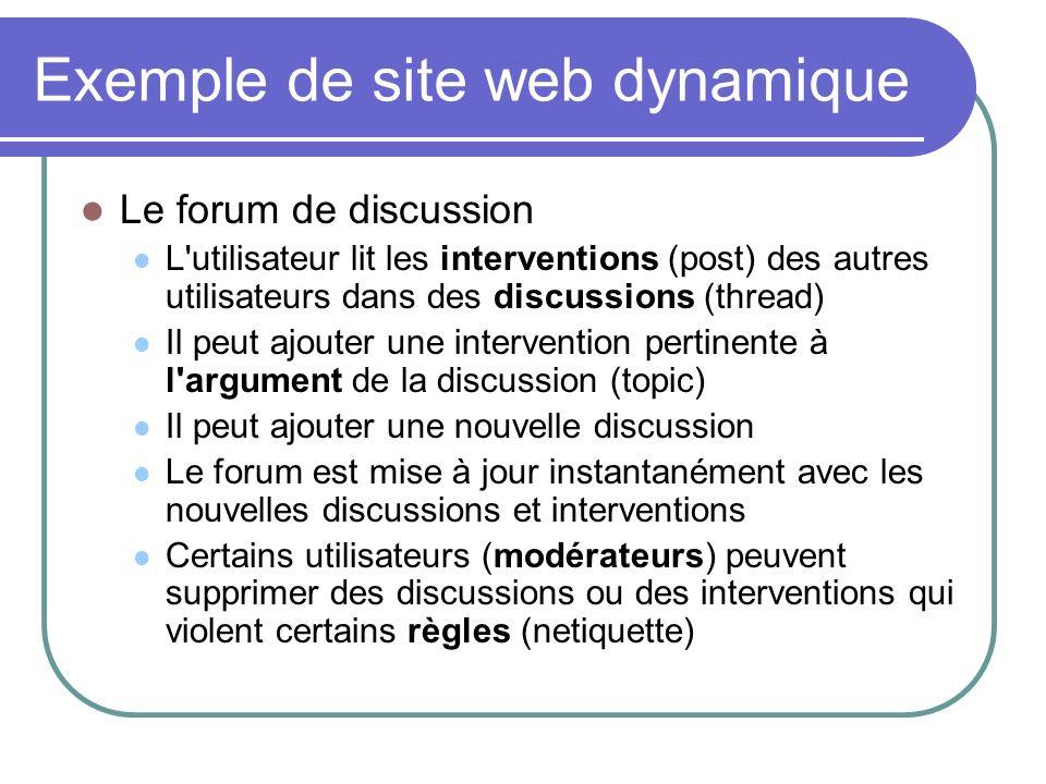 Exemple de site web dynamique Le forum de discussion L'utilisateur lit les interventions (post) des autres utilisateurs dans des discussions (thread)