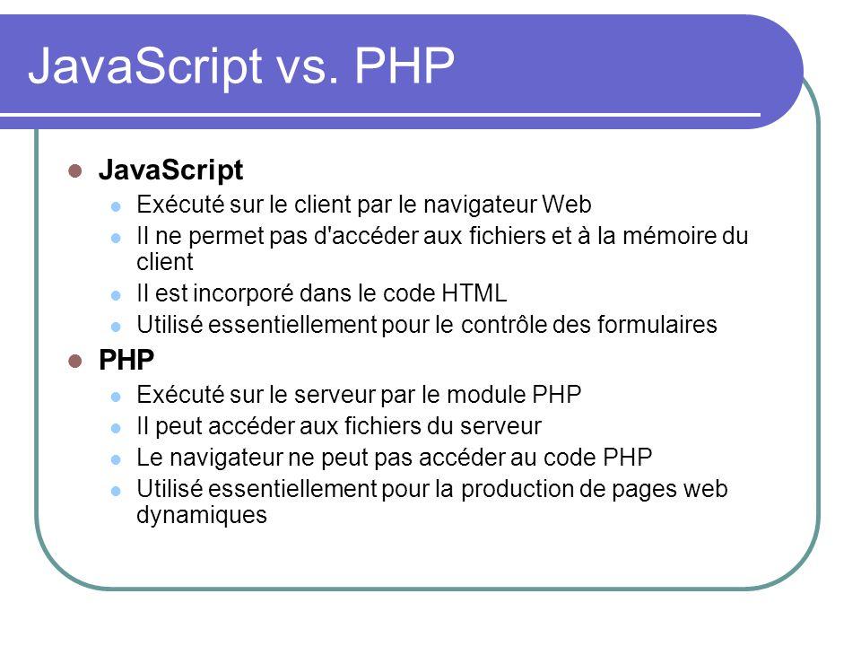 JavaScript vs. PHP JavaScript Exécuté sur le client par le navigateur Web Il ne permet pas d'accéder aux fichiers et à la mémoire du client Il est inc