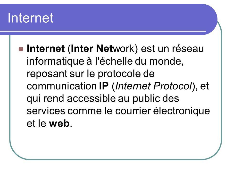 Internet Internet (Inter Network) est un réseau informatique à l'échelle du monde, reposant sur le protocole de communication IP (Internet Protocol),