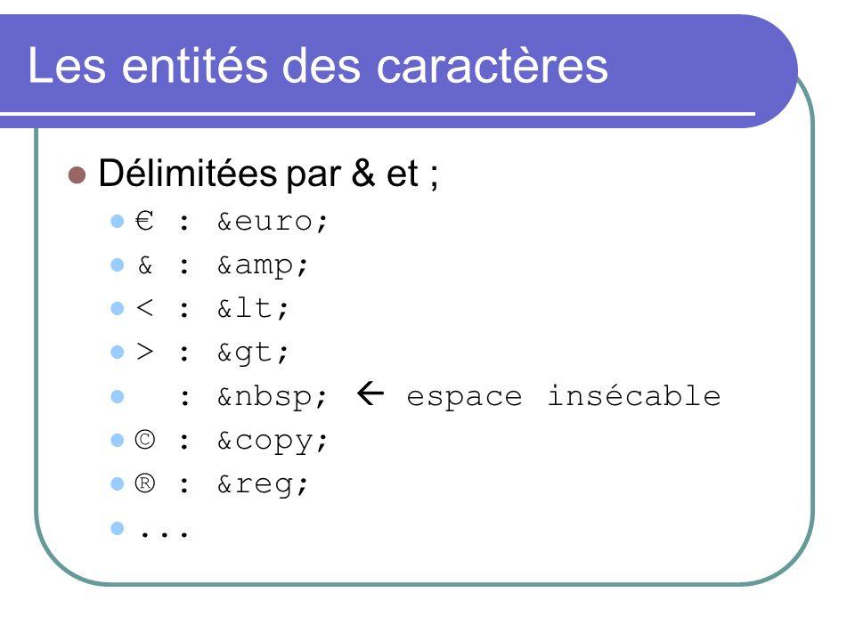 Les entités des caractères Délimitées par & et ; : &euro; & : &amp; < : &lt; > : &gt; : espace insécable © : &copy; ® : &reg;...