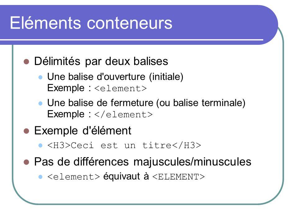 Eléments conteneurs Délimités par deux balises Une balise d'ouverture (initiale) Exemple : Une balise de fermeture (ou balise terminale) Exemple : Exe