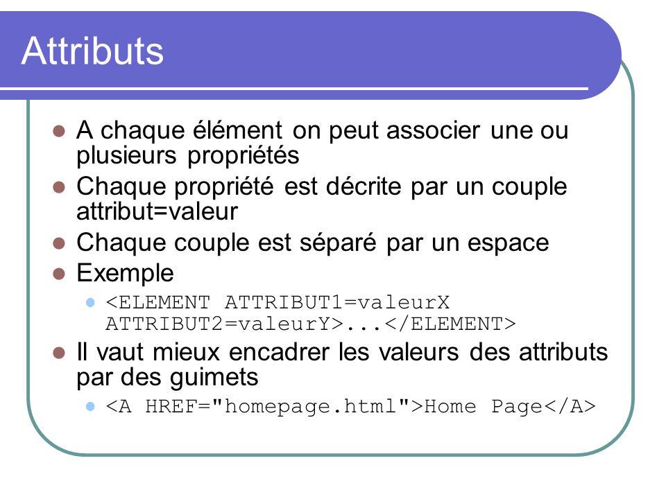 Attributs A chaque élément on peut associer une ou plusieurs propriétés Chaque propriété est décrite par un couple attribut=valeur Chaque couple est s