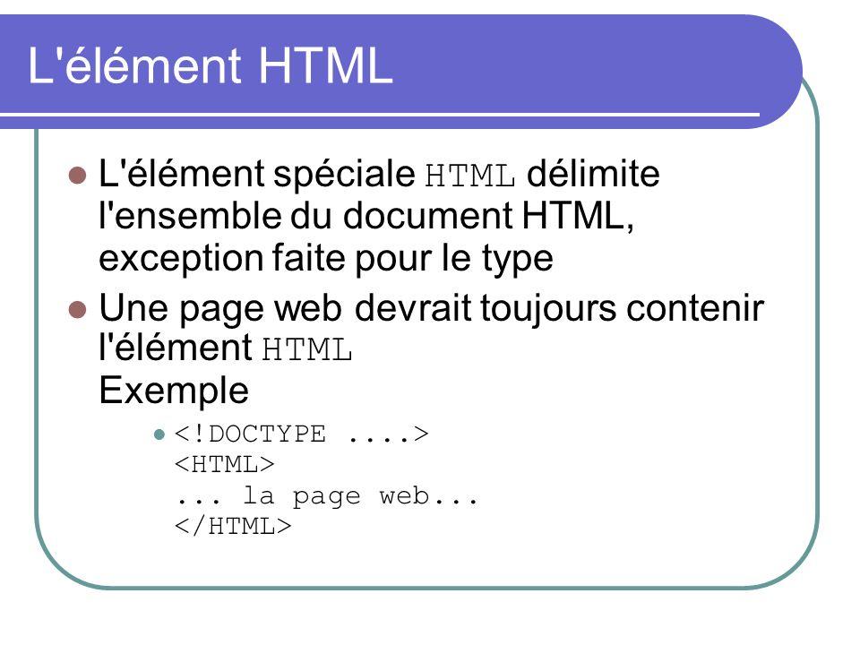 L'élément HTML L'élément spéciale HTML délimite l'ensemble du document HTML, exception faite pour le type Une page web devrait toujours contenir l'élé