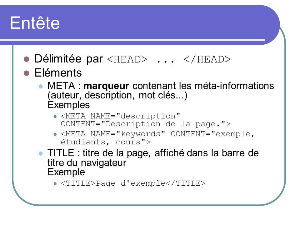 Entête Délimitée par... Eléments META : marqueur contenant les méta-informations (auteur, description, mot clés...) Exemples TITLE : titre de la page,