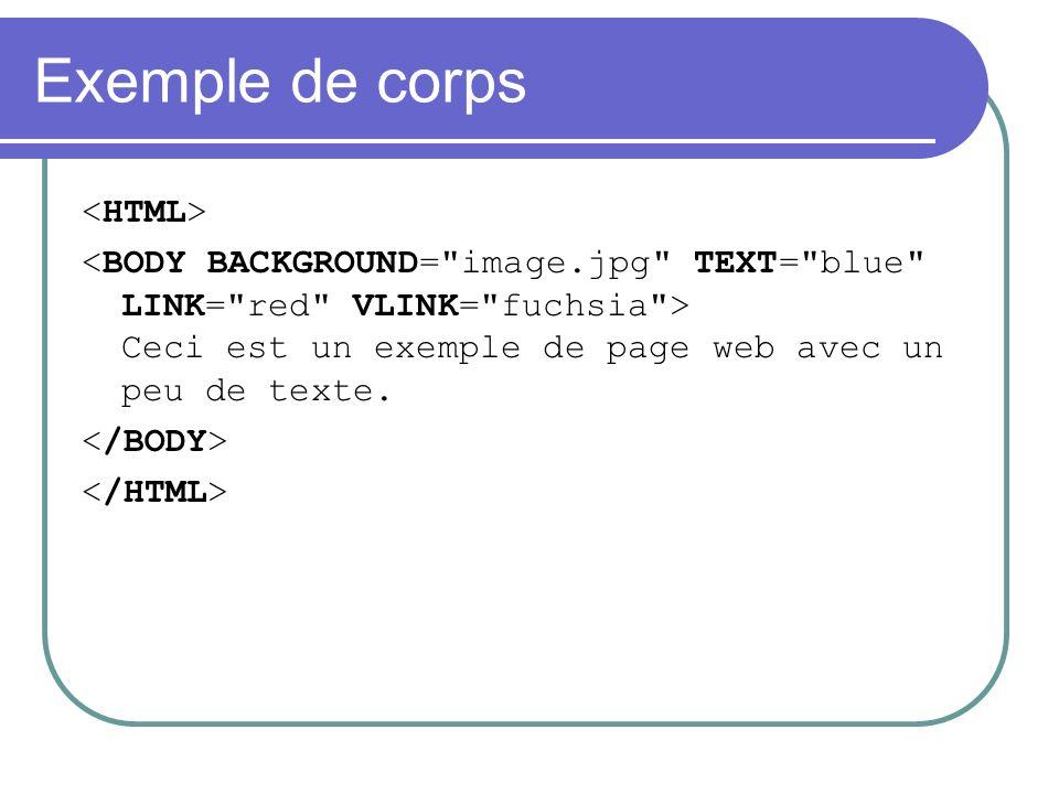 Exemple de corps Ceci est un exemple de page web avec un peu de texte.