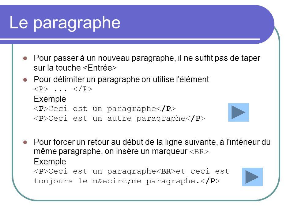 Le paragraphe Pour passer à un nouveau paragraphe, il ne suffit pas de taper sur la touche Pour délimiter un paragraphe on utilise l'élément... Exempl
