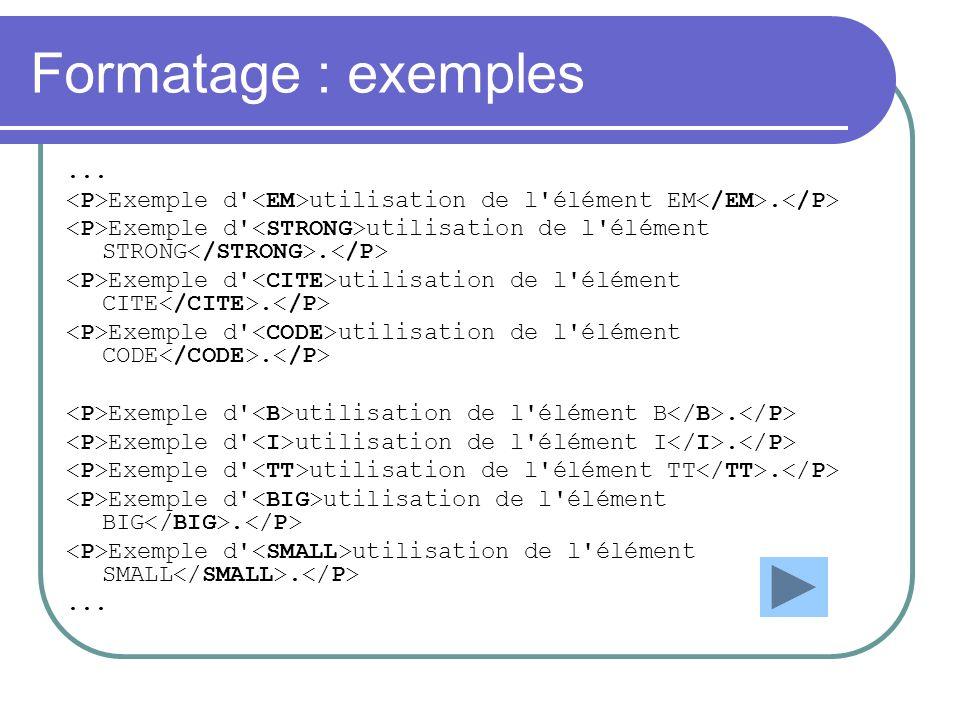 Formatage : exemples... Exemple d' utilisation de l'élément EM. Exemple d' utilisation de l'élément STRONG. Exemple d' utilisation de l'élément CITE.