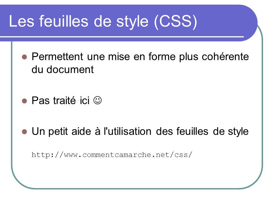 Les feuilles de style (CSS) Permettent une mise en forme plus cohérente du document Pas traité ici Un petit aide à l'utilisation des feuilles de style