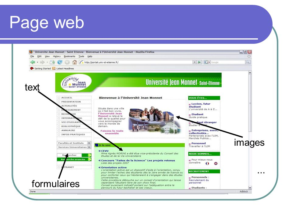 Page web text formulaires images...