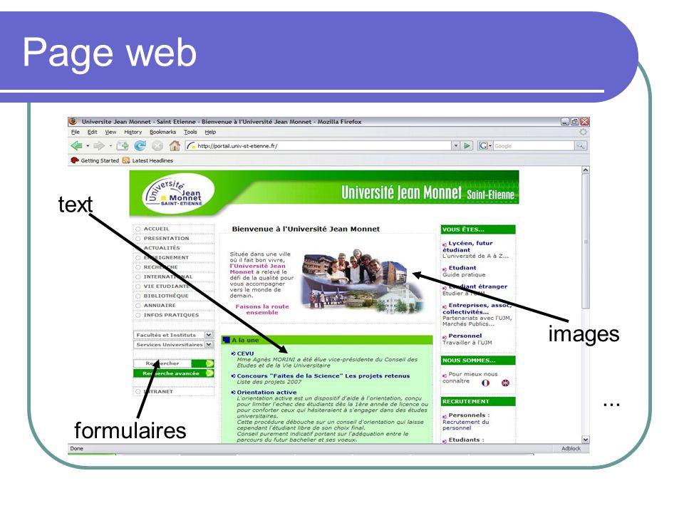 Les ressources Une page web est constituée en général d une ou plusieurs ressources Les ressources sont en général des documents (fichiers) écrits en langage HTML Autres types de ressources Images Flux audio/vidéo Programmes ou scripts Autres documents qui peuvent être téléchargés …