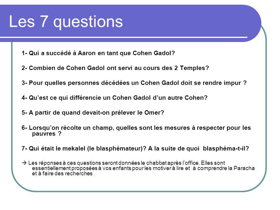 Les 7 questions 1- Qui a succédé à Aaron en tant que Cohen Gadol.