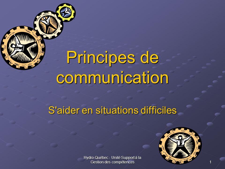 Hydro-Québec - Unité Support à la Gestion des compétences 1 Principes de communication S'aider en situations difficiles