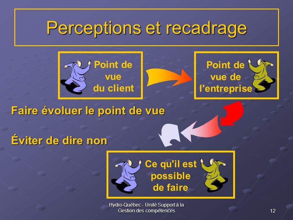 12 Hydro-Québec - Unité Support à la Gestion des compétences Point de vue du client Point de vue de l'entreprise Perceptions et recadrage Ce qu'il est