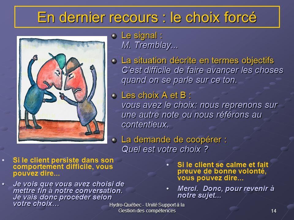 14 Hydro-Québec - Unité Support à la Gestion des compétences En dernier recours : le choix forcé Le signal : M. Tremblay... La situation décrite en te