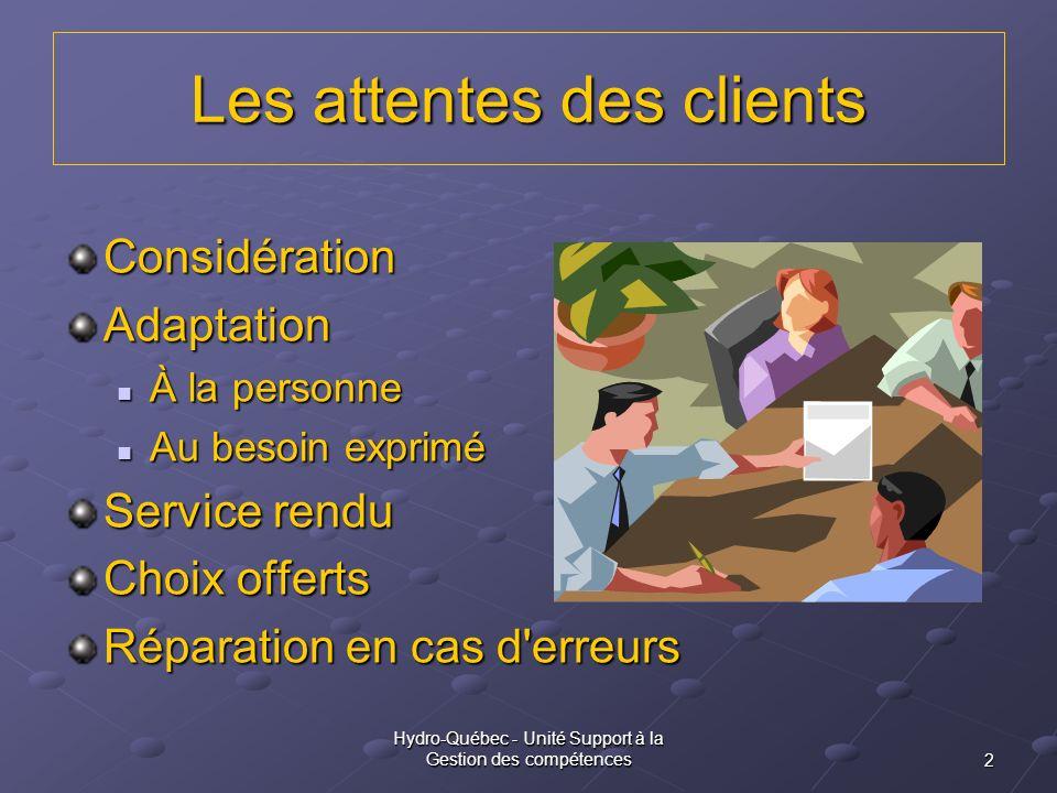 2 Hydro-Québec - Unité Support à la Gestion des compétences Les attentes des clients ConsidérationAdaptation À la personne À la personne Au besoin exp