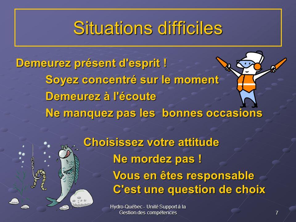 7 Hydro-Québec - Unité Support à la Gestion des compétences Situations difficiles Demeurez présent d'esprit ! Soyez concentré sur le moment Demeurez à