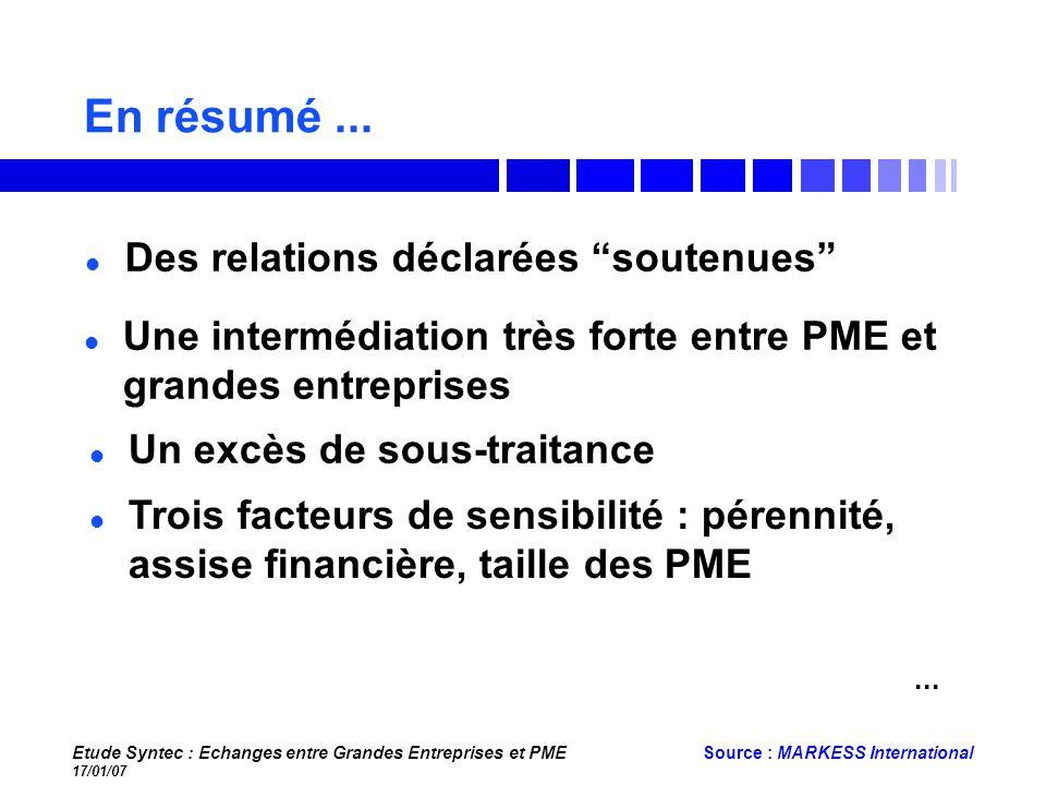 Etude Syntec : Echanges entre Grandes Entreprises et PME 17/01/07 Source : MARKESS International En résumé... Des relations déclarées soutenues Une in