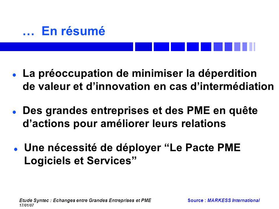 Etude Syntec : Echanges entre Grandes Entreprises et PME 17/01/07 Source : MARKESS International … En résumé Des grandes entreprises et des PME en quê