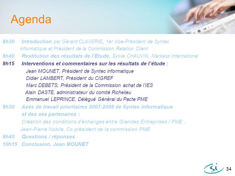 34 Agenda 8h30 Introduction par Gérard CLAVERIE, 1er Vice-Président de Syntec informatique et Président de la Commission Relation Client 8h40 Restitut