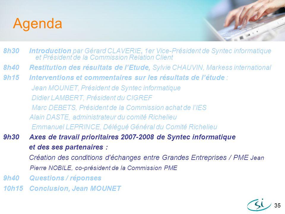 35 Agenda 8h30 Introduction par Gérard CLAVERIE, 1er Vice-Président de Syntec informatique et Président de la Commission Relation Client 8h40 Restitut