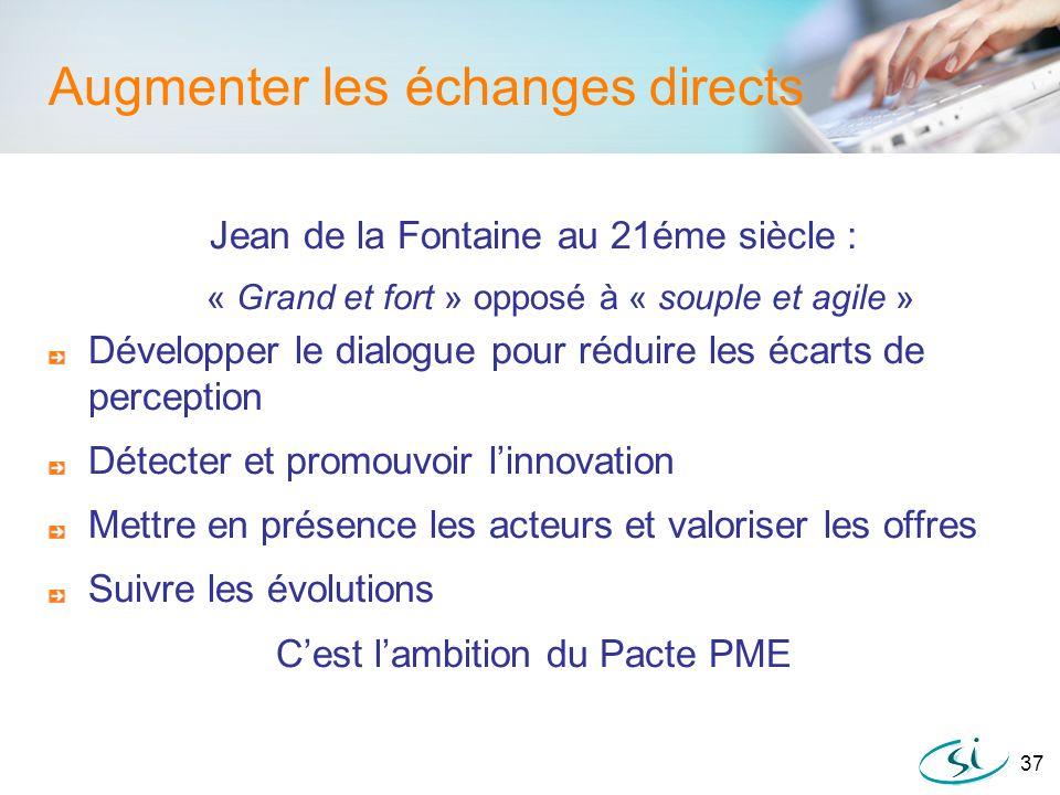37 Augmenter les échanges directs Jean de la Fontaine au 21éme siècle : « Grand et fort » opposé à « souple et agile » Développer le dialogue pour réd