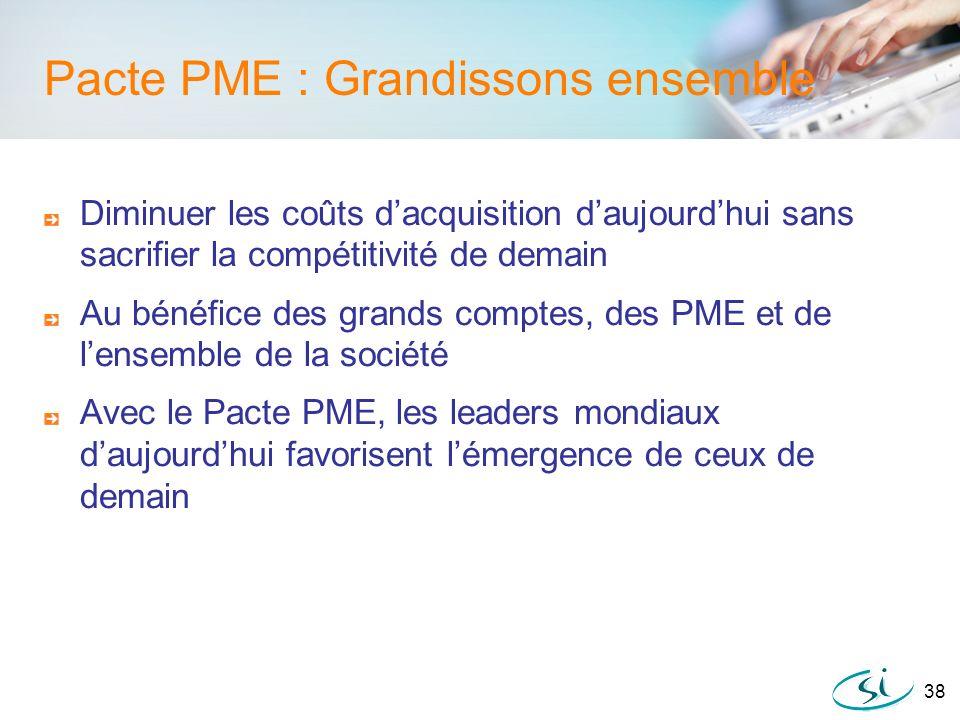 38 Pacte PME : Grandissons ensemble Diminuer les coûts dacquisition daujourdhui sans sacrifier la compétitivité de demain Au bénéfice des grands compt