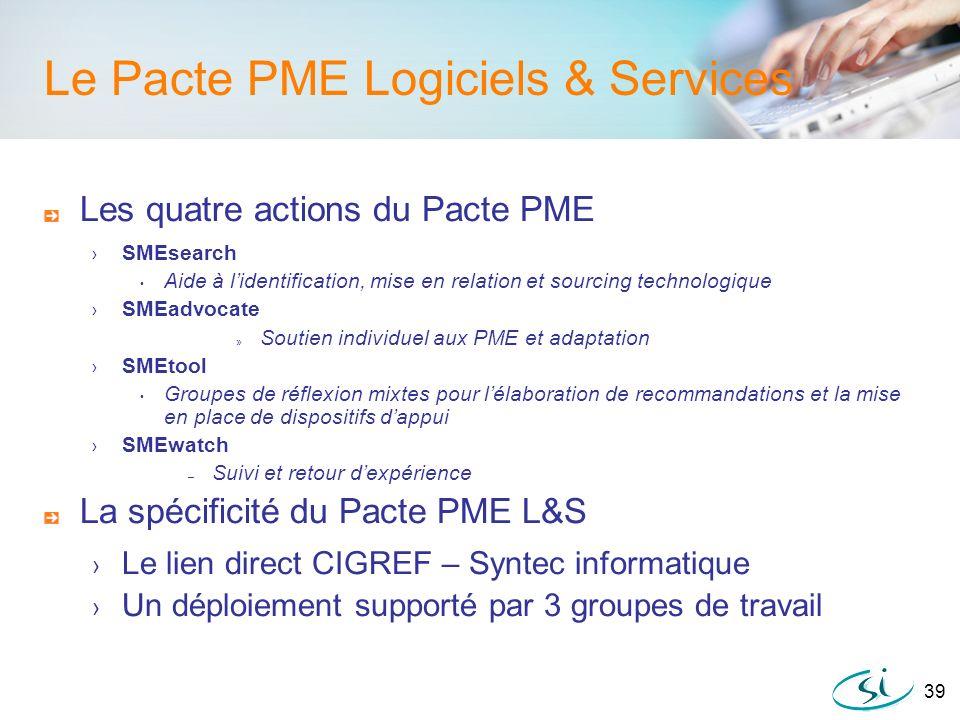 39 Le Pacte PME Logiciels & Services Les quatre actions du Pacte PME SMEsearch Aide à lidentification, mise en relation et sourcing technologique SMEa