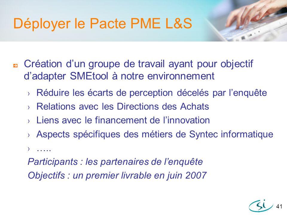 41 Déployer le Pacte PME L&S Création dun groupe de travail ayant pour objectif dadapter SMEtool à notre environnement Réduire les écarts de perceptio