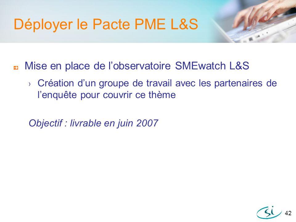 42 Déployer le Pacte PME L&S Mise en place de lobservatoire SMEwatch L&S Création dun groupe de travail avec les partenaires de lenquête pour couvrir
